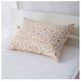 綿100%ピローケース同色2枚組(フラワー柄) 枕カバー・ピローパッド
