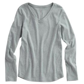 UVカット綿100%フライス素材Vネック長袖Tシャツ (Tシャツ・カットソー)(レディース)T-shirts