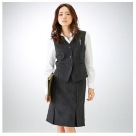 【事務服。ベストスーツ】2点セット(ベスト+ボックスプリーツスカート)(防汚加工。抗菌消臭テープ付) women's suits