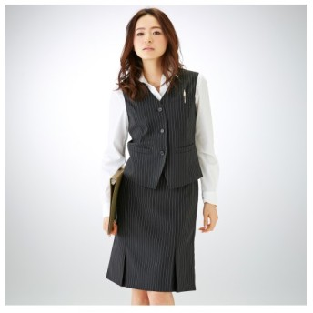 9/25 11:00amまでの特別価格!【事務服。ベストスーツ】2点セット(ベスト+ボックスプリーツスカート)(防汚加工。抗菌消臭テープ付) women's suits
