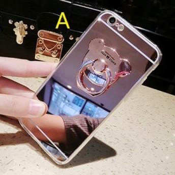 スマホカバー iPhone7/iPhone7/iPhone6s/iPhone6 Plusケース鏡面熊形リング付スマホケースアイフォン