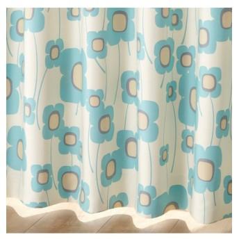 【送料無料!】北欧調フラワー柄遮光カーテン ドレープカーテン(遮光あり・なし)