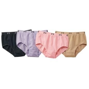 綿混伸びーるショーツ4枚組 スタンダードショーツ,Panties