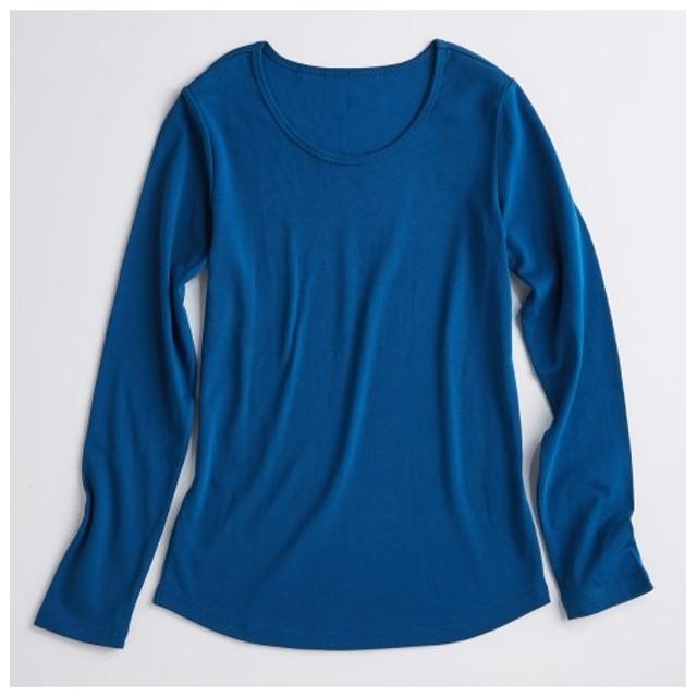 UVカット綿100%フライス素材クルーネック長袖Tシャツ (Tシャツ・カットソー)(レディース)T-shirts