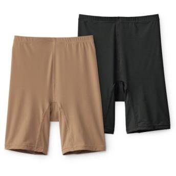 接触冷感。股ずれ防止ストレッチ3分丈ショーツ2枚組 3分丈・ロング丈ショーツ,Panties