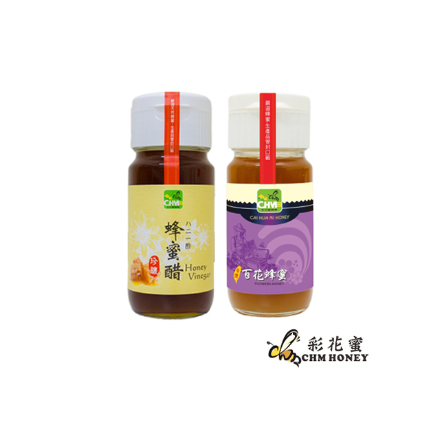 《彩花蜜》台灣嚴選-百花蜂蜜700g+珍釀蜂蜜醋500ml (梅瓶包裝)