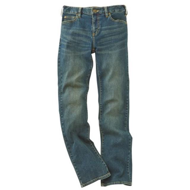 すごのびストレッチデニムストレートパンツ(もっともっとゆったり太もも)(股下78cm) (大きいサイズレディース)パンツ