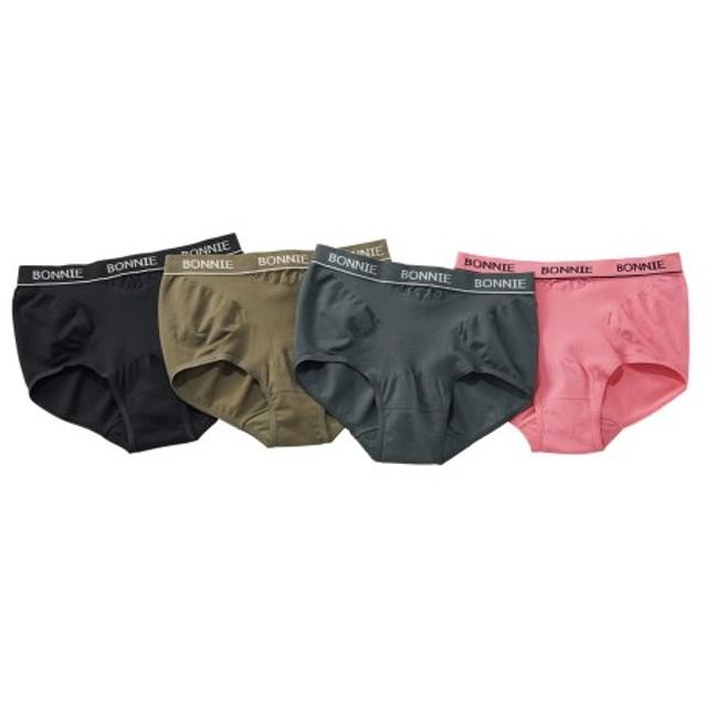 綿混伸びーるけどお腹を優しく引き締めるショーツ4枚組 スタンダードショーツ,Panties