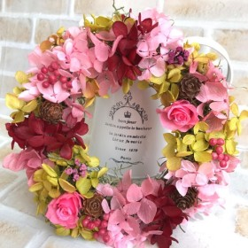 「Creema限定」【母の日】薔薇と紫陽花のリース*プリザーブド