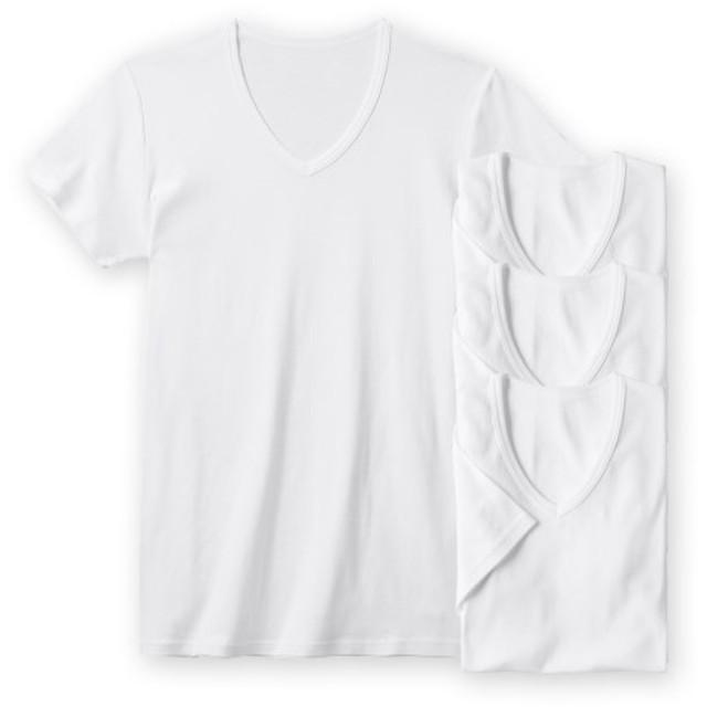 抗菌防臭加工 綿100%フライスVネック半袖インナー4枚組 メンズ下着, Men's Underwear, 内衣, 衣