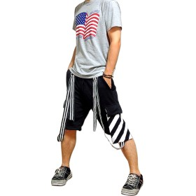 ショートパンツ - EVERSOUL ショートパンツ メンズ スウェット パンツ ダンス 衣装 ハーフパンツ / ボーダーの飾りベルトに変形ポケット等、個性的なデザインのスウェットショートパンツ!