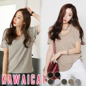 Tシャツ - KawaiCat 【ts10823】単品でもインナーとしても一年中使える便利なアイテム☆深いネックラインでスッキリと演出してくれるベーシック半袖Tシャツ(7色)