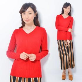 ニット・セーター - CLOTHY ウォッシャブルニット■リブ 無地 Vネック 長袖 ニット (M/L)