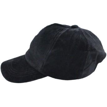 キャップ - CELL ベロアキャップ 無地 シンプル レザーベルト ベースボールキャップ 帽子 小物