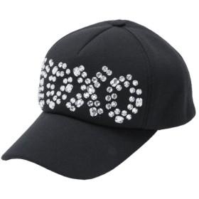 キャップ - 夢展望 帽子 ロゴ ビジュー キャップ スウェット 合成皮革 ブラック 黒 F レディース 夢展望