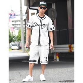 セットアップ - Third enterprise ベースボールシャツ 大きいサイズ セットアップ 半袖 メンズ 夏 上下セット ピンストライプ b系 ファッション ストリート系ヒップホップ