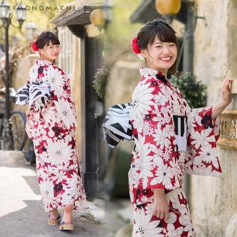 浴衣 - KIMONOMACHI 京都きもの町オリジナル 浴衣単品「赤マーガレット」S、フリー、TL、LL 花火大会、夏祭り、夏フェスに 女性浴衣 お仕立て上がり浴衣
