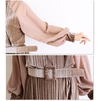 ワンピース - Sawa a la mode 美しい極みのプリーツ輝く。レディース ファッション ワンピース 長袖 クロップド丈 ブラウン フリーサイズ M L LL MサイズLサイズ LLサイズ 9号 11号 13号 15号 サワアラモード Sawa a la mode 可愛い