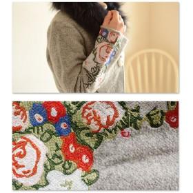 ロングコート - Sawa a la mode ファー付き上品刺繍コート。レディース ファッション コート ファー 刺繍 グレー 長袖 フリーサイズ M L LL Mサイズ LサイズLLサイズ 9号 11号 13号 15号 サワアラモード Sawa a la mode 可愛い服