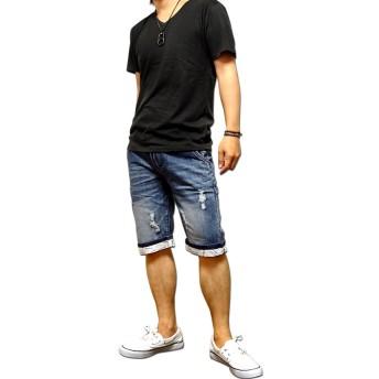 ショートパンツ - EVERSOUL デニム ハーフパンツ メンズ 五分丈 5分丈 ショートパンツ パンツ 切替 厚手 / 絶妙な色落ち&ダメージ加工のデニムハーフパンツ!