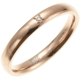 リング - アクセサリーショップPIENA 丸みを帯びた形のリング サージカルステンレス 一粒天然ダイヤモンド レディース ローズゴールド
