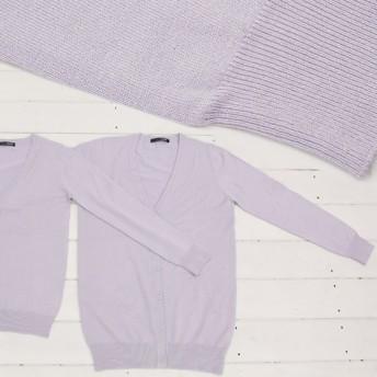 カーディガン - honey on days UVカット シルキータッチクルーネックカーディガンVネック ニット Uネックニット レディースセーター 大きいサイズ UV 紫外線対策トップス