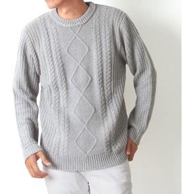 ニット・セーター - MC ニット メンズ クルーネック タートルネック 2タイプ 無地 アラン編み モール素材 セーター トップス 長袖 メンズファッション 通販 新作