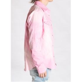 シャツ - intheattic シャツ メンズ 長袖 オルテガ 柄 デニムシャツ 青 ピンク