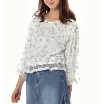 ブラウス - s.i.p チュールレース花柄刺繍バルーン袖ショートプルオーバー/トップス