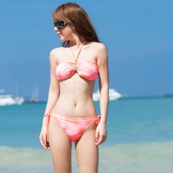 ビキニ - LoveTiara 2点セット★ヒッピーバンドゥ風ムラ染めホルターネックビキニ水着★【即納】