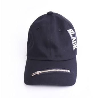 キャップ - PRIMACLASSE キャップ レディース お洒落 ファスナー シンプル ロゴ BLACK 小顔効果 スタイリッシュ レディース コーデュロイ 帽子ファスナーキャップ