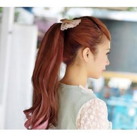 パーツウィッグ - Pinky & Refine ウィッグ 2トーンポニーテール(マジックテープ)ツインテール ウィッグ ポイント ハーフ ロング ゆる巻き ツートン つけ毛エクステポイントウィッグ 可愛い ハロウィン小物 仮装 コスプレ