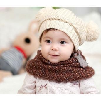 ベビー帽子 - レースレディース 帽子 ニット キッズ ニット帽 ボンボン 子供帽子 ポンポン 帽子 耳あて付 ベビー 子供 児童 可愛い 秋 冬 熊耳 クマ キャップ