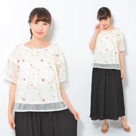 シャツ - CLOTHY 小花 刺しゅう入り チュール素材 スモック ブラウス