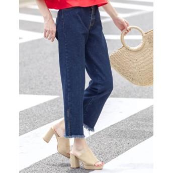 デニムパンツ・ジーンズ - Re: EDIT サイドスリットから素肌が覗くデザインデニム サイドスリット裾フリンジデニム ボトムス/パンツ/デニムパンツ