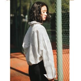シャツ - U-BASIC カジュアルストライプシャツ FREE ホワイト ピンク ゆったり 長袖 大人カジュアル シンプルな中に少しのアクセント UBASICユーベーシック 韓国 ファッション 秋服 冬服 秋冬