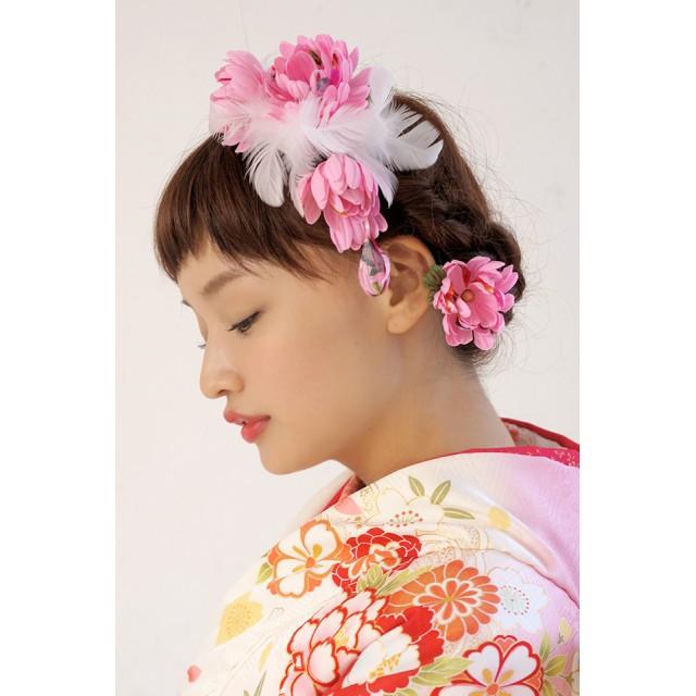 SOUBIEN 髪飾り 2点セット 菊 ブラ飾り 羽 和柄
