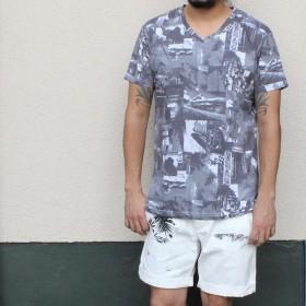 Tシャツ - EYEDY Tシャツ 半袖 半袖Tシャツ メンズ おしゃれ かっこいい 大きいサイズ XL 総柄 黒 ブラック モノトーン モノクロ ビタービッグシルエット