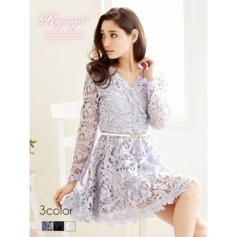 ドレス - Ryuyu キャバ ドレス キャバドレス キャバクラ キャバワンピース パーティードレス Ryuyu 長袖カシュクールワンピース 膝丈 フレアー小さいサイズ セクシー ドレス