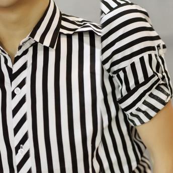 シャツ - BIG BANG FELLAS メンズ 七分袖 ボタンダウン ストライプ シャツ シンプル カジュアル アメカジ メンズファッション トップス お兄系 サイズ七分袖Tシャツ韓流 原宿系 韓国ファッション 韓流 K-POP KPOP