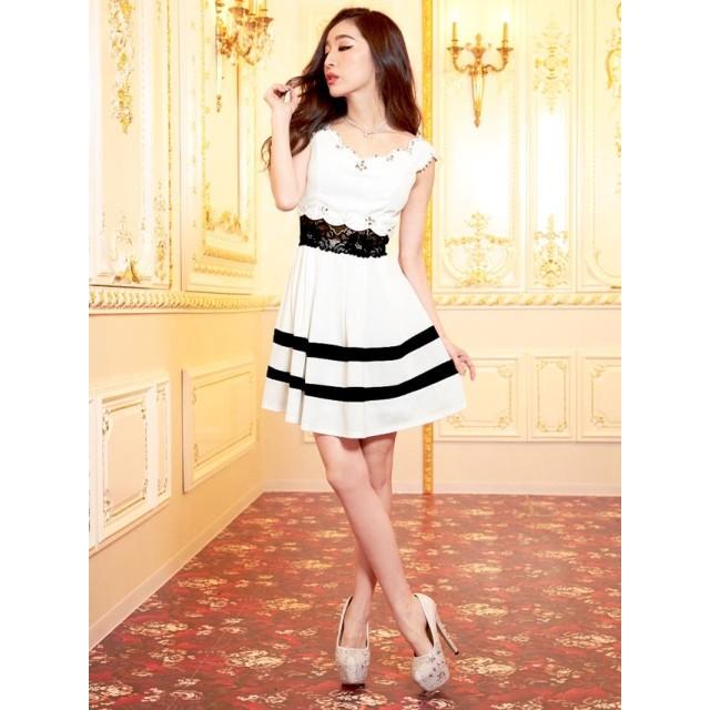 20c5d3c8b20c7 ドレス - Dazzy ドレス キャバ ワンピース 大きいサイズ SMLサイズ オフショルダーウエスト透けレースA