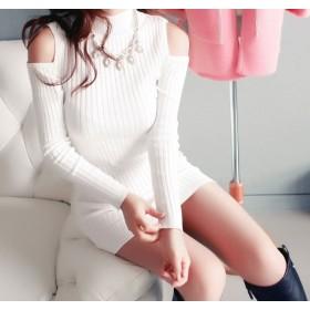 ワンピース - luby 春物 長袖ニット肩開きセクシーワンピー タイトワンピース ス 韓国ファッション
