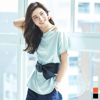 Tシャツ - titivate ベルト付スリットネックチュニック/レディース/トップス/ワンピース/チュニック/スリット/ベルト付/ウエストベルト/シンプル【UR'Sユアーズ】