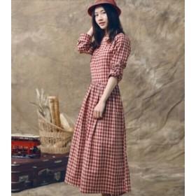ドレス チェック ロングワンピ 長袖 Aライン ワンピース パーティ レディース 二次会 きれいめ 結婚式 韓国  20代 40代