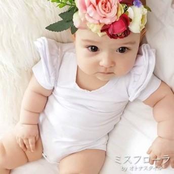 【予約】肩フリル ロンパース ベビー ガール 女の子 おしゃれ 半袖