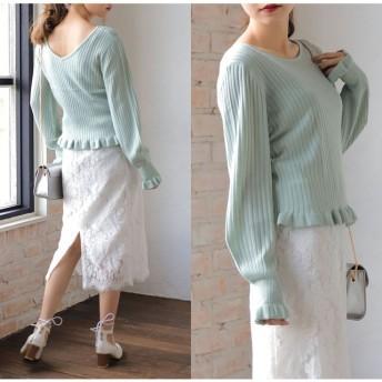 ニット・セーター - Re: EDIT フェミニンなエッセンスが効いた春ニット 裾フリル2WAYリブニットトップス トップス/カットソー・Tシャツ