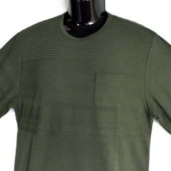 Tシャツ - NEVEREND 大きいサイズ CREATION CUBE 編み変え ボーダー 天竺 フェイクレイヤード Tシャツ 8402-209L