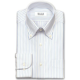 ワイシャツ - ワイシャツの山喜 ELLE HOMME 長袖ワイシャツ メンズ 春夏秋 形態安定加工 涼感素材 ゆったりオルタネイトストライプボタンダウン綿:50%/ポリエステル:43%/レーヨン:7% ホワイト(zed521-450)