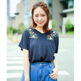 カットソー - GIORDANO [GIORDANO]2WAY花柄刺繍半袖Tシャツ
