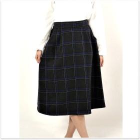 ミニスカート - s.i.p 起毛チェック共ベルト付きミディ丈台形スカート